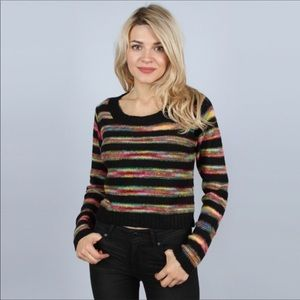 Sweaters - Colorful striped knit crop sweater